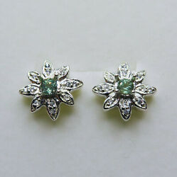 Natural Alexandrites And Diamonds 925 Silver 9ct 14k 18k Gold Stud Earrings