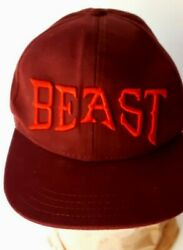 Old Navy BEAST ball cap Baseball Snap Back hat Maroon color w Red Embroidery