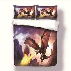 Sharper Glory Game Of Thrones Unique Flying Dragon Spouting Fire Duvet Cover Set