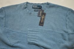 New Polo Men Linen-cotton Washed/repaired Sweater Crew Neck Jumper