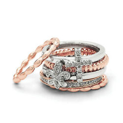 Sterling Silver & 14K Rose Gold Plated Diamond Faith Stack Ring Set