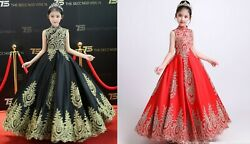 Childrens Girls Elegant Gold Embroidered Chinese Oriental Pageant Dress Gown