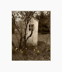 Vintage Outhouse Wall Art, Farmhouse Bathroom Decor, Brown Yellow Wall Picture