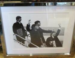 Beautiful Rare Numbered Black And White Beatles Waving Off Plane Framed Photo