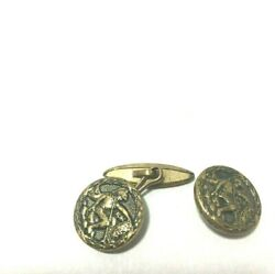 Collectible Pair Of Vintage Antique Roman Soldier Cufflink Buttons