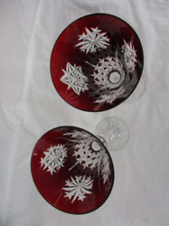 Waterford Snow Crystals Ruby Red Champagne Flutes 2003 Rare Set Of 12