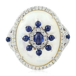 18k White Gold Pave Diamond Blue Sapphire Pearl Gemstone Cocktail Ring Jewelry