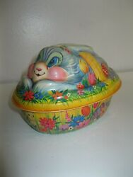 Vintage Graphic Bunny Lidded Plastic Decorated Egg Box With Rabbit And Chicks