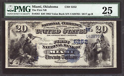 20 1882 Value Back The First National Bank Of Miami, Oklahoma Ch 5252 - Pmg 25