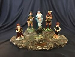 Royal Doulton Lord Of The Rings Ceramic Figures W/ Impossible-to-find Display