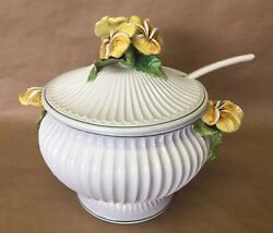 Antique Majolica White Glazed Porcelain Italy Soup Bowl With Spoon