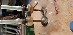 2 X Antique Oil Lamp And Extra Chimneys