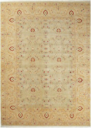 10x14 Hand-knotted Lahore Carpet Oriental L/green Fine Wool Area Rug D12791