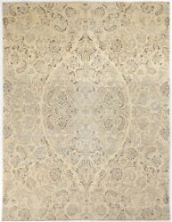 Traditional Hand Knotted Chobi Area Rug Beige Color 100 Wool Rugs Size 8 X 10