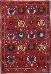 Hand Knotted Modern Area Rug Red/blue Color 100 Wool Area Rugs Size 6 X 9