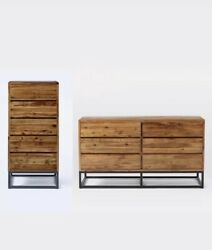 West Elm Online Exclusive Logan Industrial 5 And 6 Drawer Natural Wood Dressers