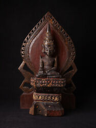 Antique Wooden Mon Buddha Statue From Burma Early 19th Century