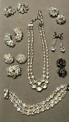 Vtg 3 German Aurora Borealis Crystal Glass Earrings, Pin Necklace And Bracelet Lot