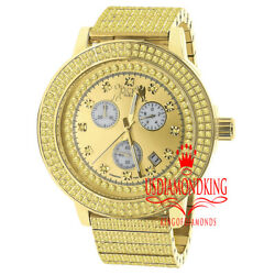 Canary Real Diamond Dial Full Stainless Steel 18k Gold Mens Watch 54mm W/date