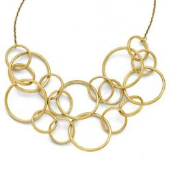 14k Yellow Gold Etched Finish Round Multi Strand Necklace, 17 Inch