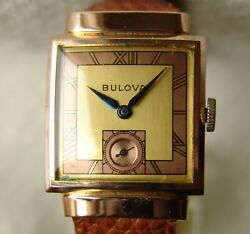Wwii Era Menand039s Square 14k Rolled Gold Bulova Good Condition Wristwatch