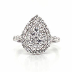 1.32 Cttw Round Cut Diamond Pear Cluster Halo Engagement Ring 18k White Gold