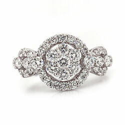 1.13 Cttw Round Cut Diamond Cluster Halo Engagement Ring 18k White Gold