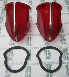 1956 Oldsmobile 98 Tail Light Lenses With Chrome Trim And Mounting Gaskets