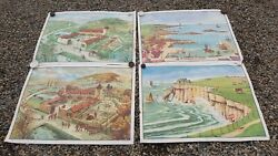 4 Large Double Sided French Vintage School 1960's Posters 91x68cm 8pics Intotal