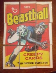 1975 Wacky Pack Beastball Puzzle Complete Very Rare Stickers On Back.