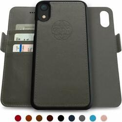 Wallet Case for iPhone XR Magnetic Detachable RFID Protection Stand Grey