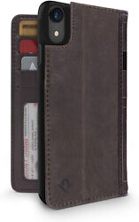For iPhone XR Leather Wallet Case Display Stand and Removable Shell (Brown)