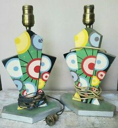 Flower Power Lamps Mid Century Modern Carnival Circus Wood Folk Art 1960 70and039s