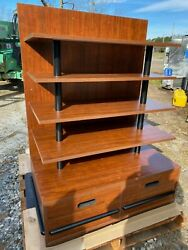 Ucd Wood 41.5 Brown Product Retail Store Display Candy Fixture Shelf W/drawers