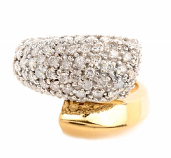 1.5ct Diamond 14k 2tone Solid Gold Bypass Ring Fine Jewelry