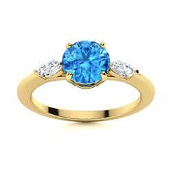 Natural Blue Topaz And Diamond Engagement Ring Certified 14k Yellow Gold 1.2 Tcw