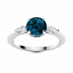 Natural London Topaz And Diamond Engagement Ring Certified 14k White Gold 1.2 Tcw