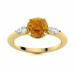 Natural Citrine And Diamond Engagement Ring Certified 14k Yellow Gold 1.2 Tcw