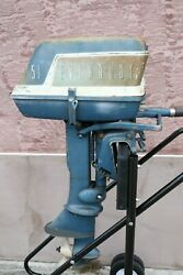 Vintage Evinrude Boat Motor Fisherman 5.5 Outboard Engine Runs As Is Parts