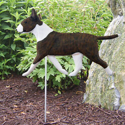 Bull Terrier Outdoor Garden Sign Hand Painted Figure Brindle White