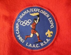 Vintage 1984 Boy Scout Bsa Red Wool Shirt Jacket 38 L.a.a.c Camp O Rama Expo