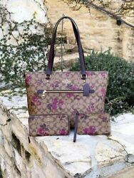 NWT COACH GALLERY SIGNATURE VICTORIAN FLORAL TOTE +WRISTLET VARIOUS OPTIONS