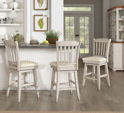 Counter Stool Slat Back Solid Wood Swivel Chair Antique White Kitchen Bar Dining