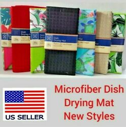 Microfiber Dish Drying Mat 12quot; x 18quot; Absorbent Assorted Home Collection Colors