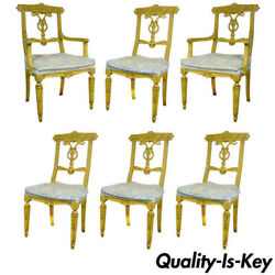 6 Yellow Painted French Regency Louis Xvi Style Carved Dining Room Chairs