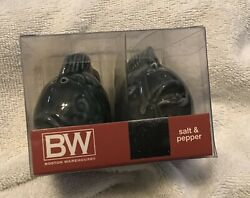 Boston Warehouse Blue Fish Salt And Pepper Shaker Set Discontinued Rare New In Pkg