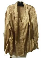 Nwt Sag Harbor Woman V-neck Carmel Gold Blouse Size 3x With Attached Scarf