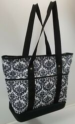 I) Floral Design Fabric Storage Utility Tote Shopping Beach Cooler Bag