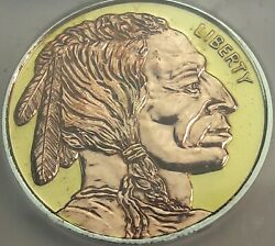 Buffalo .999 Silver Round Copper And Gold Gilded Icg Proof Genuine 4 Dr