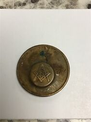 Vintage 1975 Copper Masonic Square And Compass And Tubal Cain Penny
